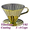 V02 Stainless Steel Coffee Dripper-Titanium Golden  (HG5034GD)