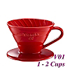 V01 Porcelain Coffee Dripper - Red (HG5537R)