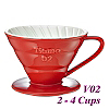 V02 Porcelain Coffee Dripper - Red (HG5544R)